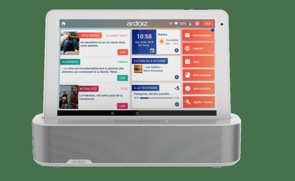 Nouvel accessoire Ardoiz, enceinte et station de charge, tablette facile pour senior