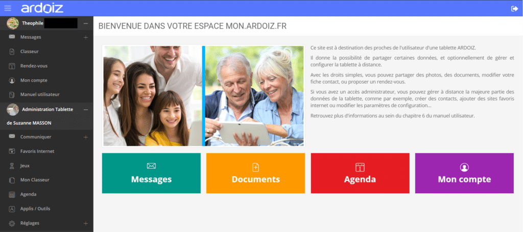 Capture d'écran du Site Famille permettant d'obtenir de l'aide sur la tablette
